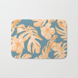 Island Hibiscus Palm Coral Teal Blue Bath Mat