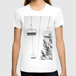 Ski Lift // Black and White Daylight Chairlift Mountain Photograph T-shirt