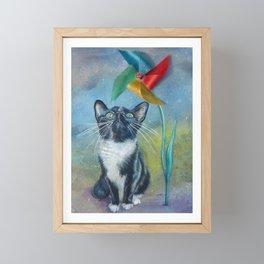 Pinwheel Kitty Framed Mini Art Print