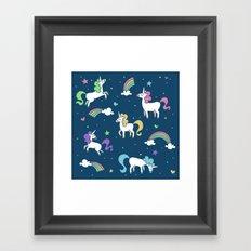 Unicorns and Rainbows - Teal Framed Art Print