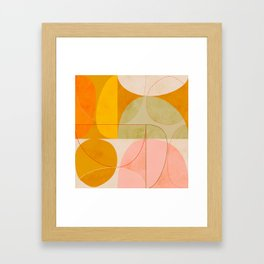 mid century geometric lines curry pink abstract art Framed Art Print