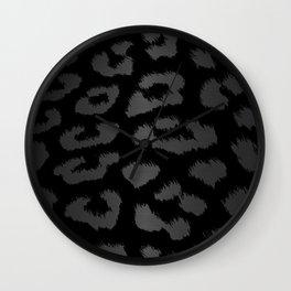 Black & Gray Metallic Leopard Print Wall Clock