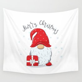 Cute Cheerful Gnome With Phrase Merry Christmas Wall Tapestry