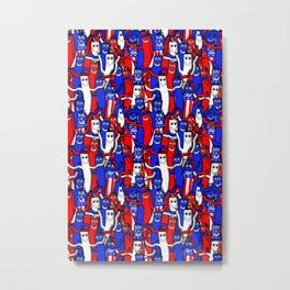 red white and blue wacky inflatable arm flailing tube man Metal Print