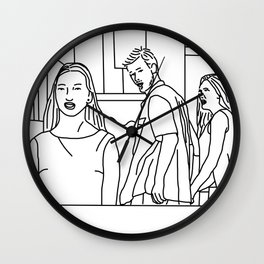 Black and White Sketch of three People Wall Clock