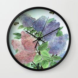 Lilacs and Bees Watercolor Painting Wall Clock