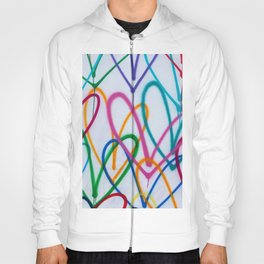Multicoloured Love Hearts Graffiti Repeat Pattern Hoody