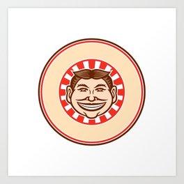 Grinning Funny Face Mascot Circle Retro Art Print