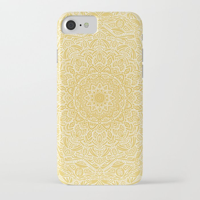 most detailed mandala! yellow golden color intricate detail ethnic mandalas zentangle maze pattern iphone case