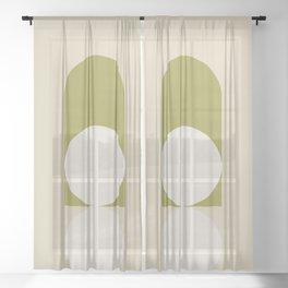 Contemporary Composition 05 - Golden Lime Sheer Curtain