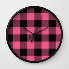 Pink & Black Buffalo Plaid Wall Clock