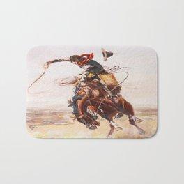 Vintage Western Cowboy Bronc Rider C.M. Russell Bath Mat