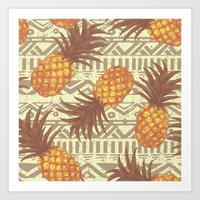pineapples Art Prints featuring pineapples by Julia
