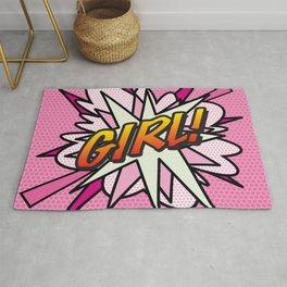 GIRL Comic Book Cute Pink Superhero Cool Graphic Rug