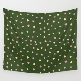 Little hand-drawn pink, red and yellow hearts Wall Tapestry