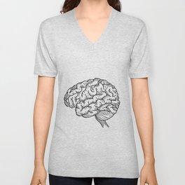 Human Brain Illustration Unisex V-Neck