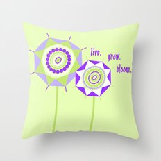 Lavender Mint Flowers Throw Pillow
