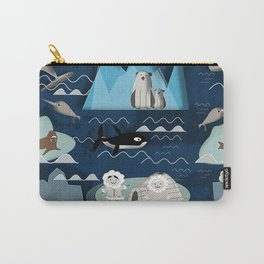 Arctic animals blue Carry-All Pouch