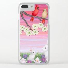 cardinals, dogwood blossoms, bunnies, & crocuses Clear iPhone Case