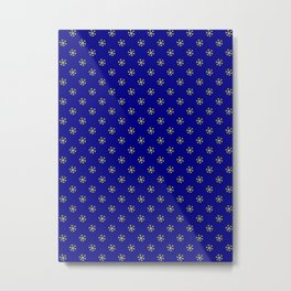 Electric Yellow on Navy Blue Snowflakes Metal Print