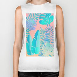 Tropics ( monstera and banana leaf pattern ) Biker Tank