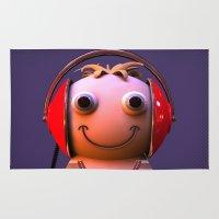 headphones Area & Throw Rugs featuring Headphones by Aguinaldo Goncalves