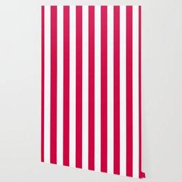 Carmine (M&P) fuchsia - solid color - white vertical lines pattern Wallpaper