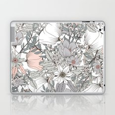 Gray and Pink Floral Pattern Laptop & iPad Skin