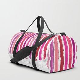 Lipstick Stripes - Floral Fuschia Red Duffle Bag