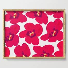 Red Retro Flowers #decor #society6 #buyart Serving Tray