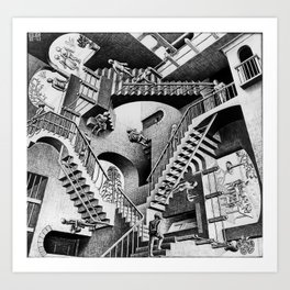MC Escher Relativity I 1953 Artwork Reproduction for Posters Prints Tshirts Men Women Kids Art Print