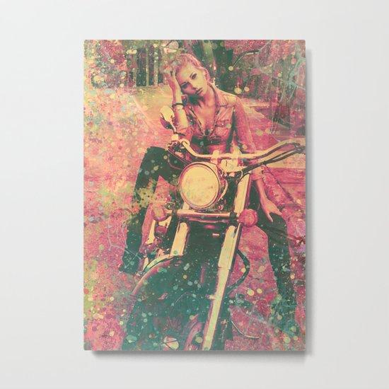 MotorcycleGirl Metal Print