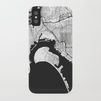 san diego iPhone & iPod Cases featuring San Diego Map Gray by City Art Posters