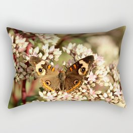 Buckeye Butterfly On Pale Pink Flowers Rectangular Pillow