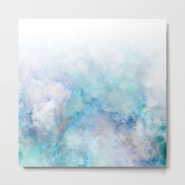 Fresh Blue and Aqua Ombre Frozen Marble Metal Print