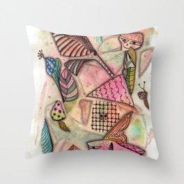 Fun Doodled Creatures Throw Pillow