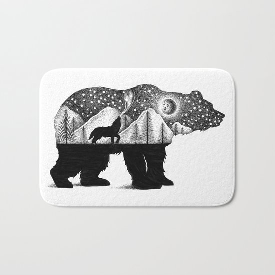 THE BEAR AND THE WOLF Bath Mat