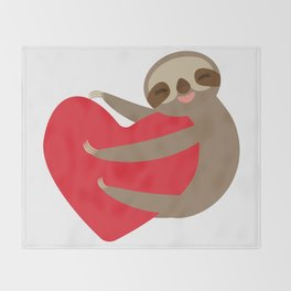 Valentines day card. Funny sloth with a red heart Throw Blanket