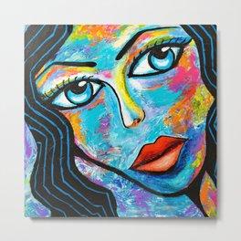 Woman with blue eyes Metal Print