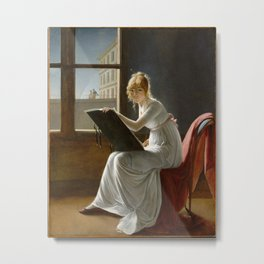 Young Woman Drawing - Marie Denise Villers Metal Print