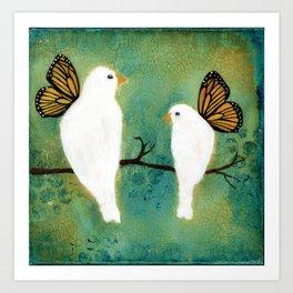 Butterfly Doves Art Print