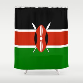 National flag of Kenya - Authentic version, to scale and color Shower Curtain