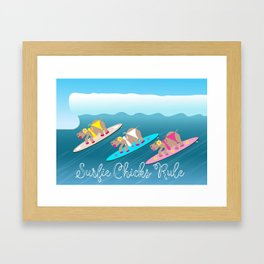 Surfie Chicks Rule Framed Art Print