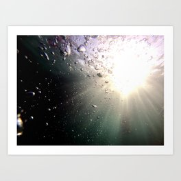 Sun in the pool with bubbles Art Print