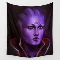 mass effect Wall Tapestries featuring Mass Effect: Aria T'Loak by Ruthie Hammerschlag