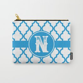 Blue Monogram: Letter N Carry-All Pouch