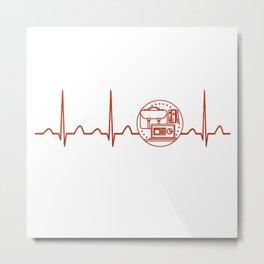 Teacher Assistant Heartbeat Metal Print
