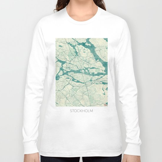 Stockholm Map Blue Vintage Long Sleeve T-shirt