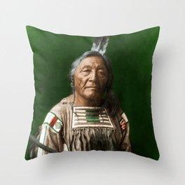 Sitting Elk - Crow Indian Throw Pillow
