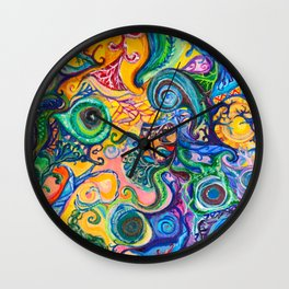 Colorful Brain Clutter Wall Clock
